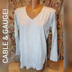 NEW CABLE & GAUGE LONG SLEEVE KNIT GREY SWEATER